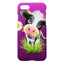 Cute Holstein cow in grass over purple iPhone 8/7 Case