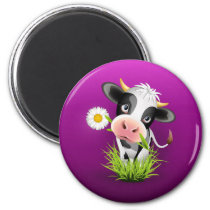 Cute Holstein cow in grass over purple Magnet
