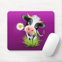 Cute Holstein cow in grass over purple Mouse Pad