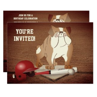Cute Home Plate Baseball Bulldog Birthday Invitation