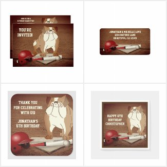Cute Home Plate Baseball Bulldog Birthday Supplies
