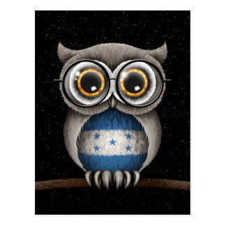 Cute Honduran Flag Owl Wearing Glasses Postcard