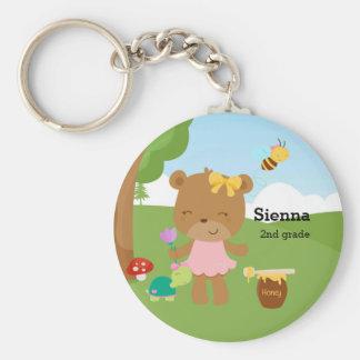 Cute honey bear basic round button keychain