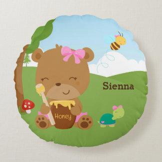 Cute honey bear round pillow