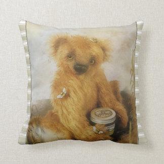 Cute Honey Bear Teddy Throw Pillow