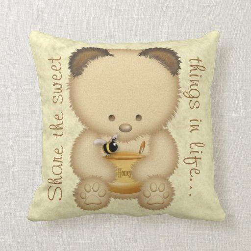 Cute Honey Bear Throw Pillow Zazzle