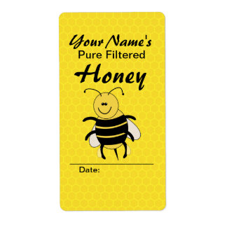 Cute Honey Bee Custom Name Honey Labels for Jar