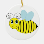 Cute Honey Bee Double-Sided Ceramic Round Christmas Ornament