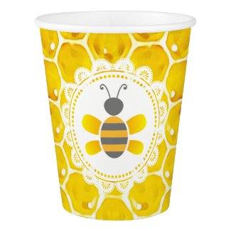 Cute Honey Bee Honeycomb Party Paper Cup
