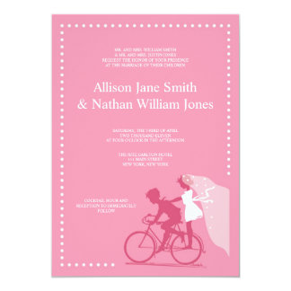 CUTE Honeysuckle Bicycle Couple Wedding Invitation