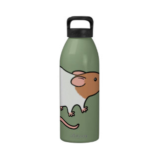 Cute Hooded Rat - Brown and White Reusable Water Bottles