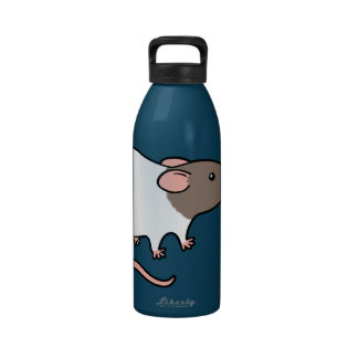 Cute Hooded Rat - Gray and White Water Bottle