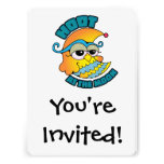 Cute Hoot At The Moon Owl Cresent Cartoon Graphic Invitation