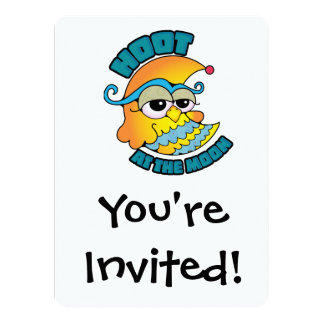 Cute Hoot At The Moon Owl Cresent Cartoon Graphic 5.5x7.5 Paper Invitation Card