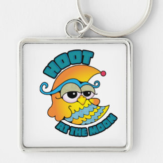 Cute Hoot At The Moon Owl Cresent Cartoon Graphic Keychains