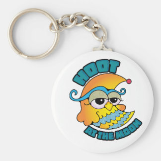 Cute Hoot At The Moon Owl Cresent Cartoon Graphic Key Chains