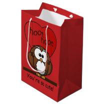 Cute Hoot Owl Valentine Red Heart Medium Medium Gift Bag