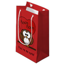 Cute Hoot Owl Valentine Red Heart Small Small Gift Bag
