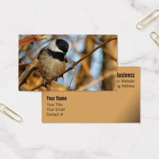 Cute Hopeful Hungry Black-Capped Chickadee Business Card