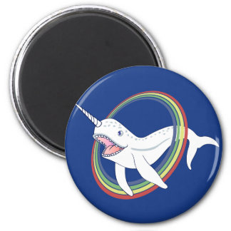 Cute Horn Narwhal With Rainbow Cartoon 2 Inch Round Magnet
