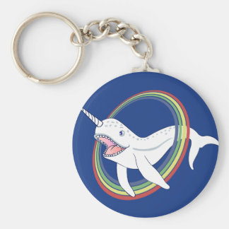 Cute Horn Narwhal With Rainbow Cartoon Basic Round Button Keychain