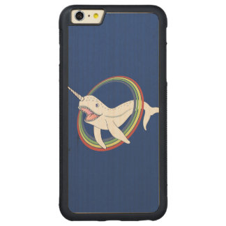 Cute Horn Narwhal With Rainbow Cartoon Carved Maple iPhone 6 Plus Bumper Case
