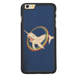 Cute Horn Narwhal With Rainbow Cartoon Carved Maple iPhone 6 Plus Slim Case