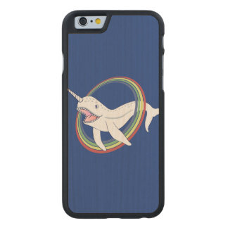 Cute Horn Narwhal With Rainbow Cartoon Carved Maple iPhone 6 Slim Case