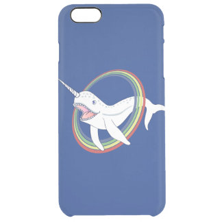 Cute Horn Narwhal With Rainbow Cartoon Clear iPhone 6 Plus Case