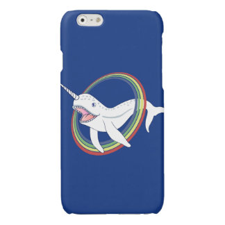 Cute Horn Narwhal With Rainbow Cartoon Glossy iPhone 6 Case