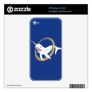 Cute Horn Narwhal With Rainbow Cartoon iPhone 4 Skins