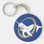 Cute Horn Narwhal With Rainbow Cartoon Basic Round Button Keychain