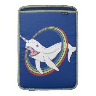 Cute Horn Narwhal With Rainbow Cartoon MacBook Sleeve