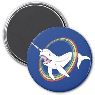 Cute Horn Narwhal With Rainbow Cartoon Magnet