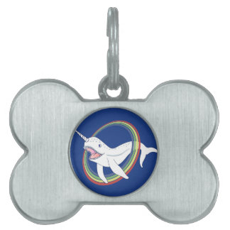 Cute Horn Narwhal With Rainbow Cartoon Pet ID Tag