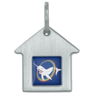 Cute Horn Narwhal With Rainbow Cartoon Pet Tag