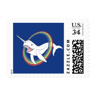 Cute Horn Narwhal With Rainbow Cartoon Postage Stamp