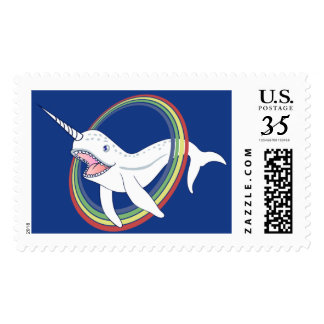 Cute Horn Narwhal With Rainbow Cartoon Stamp