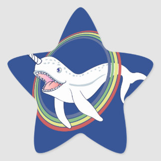 Cute Horn Narwhal With Rainbow Cartoon Star Sticker
