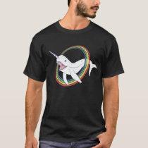 Cute Horn Narwhal With Rainbow Cartoon T-Shirt