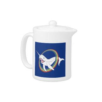 Cute Horn Narwhal With Rainbow Cartoon Teapot