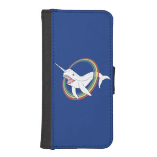 Cute Horn Narwhal With Rainbow Cartoon Wallet Phone Case For iPhone SE/5/5s