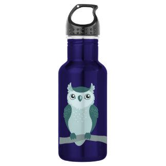 Cute Horned Owl - Minty Green Stainless Steel Water Bottle
