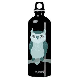 Cute Horned Owl - Minty Green Water Bottle