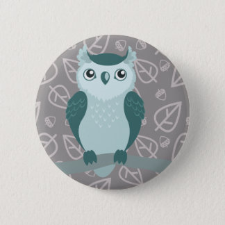 Cute Horned Owl - Miny Green Button