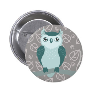 Cute Horned Owl - Miny Green Button
