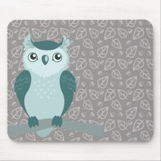 Cute Horned Owl - Miny Green Mouse Pad