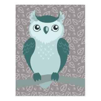 Cute Horned Owl - Miny Green Postcard