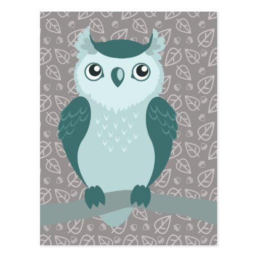 Cute Horned Owl - Miny Green Postcard