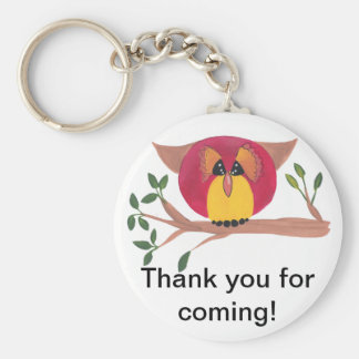 Cute Horned Owl Painting Basic Round Button Keychain